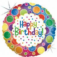 1 Folienballon Happy Birthday Rainbow Dots