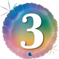 5 Folienballons Happy 3 Colourful Rainbow 46 cm/18 inch