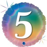 5 Folienballons Happy 5 Colourful Rainbow 46 cm/18 inch