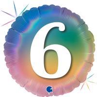 5 Folienballons Happy 6 Colourful Rainbow 46 cm/18 inch