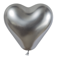 25 Herzballons glossy silber/Heart Balloons shiny silver