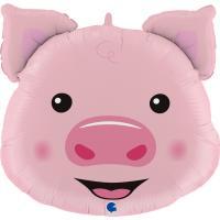 1 Foil Balloon Pig Head 76 cm/30 inch