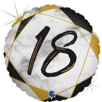 10 Folienballons Marble Mate 18 Black