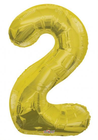 1 Folienballon Zahl 2 gold - Sonderpreis