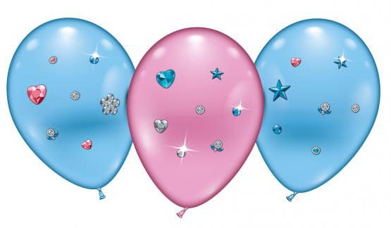 "4 Ballons/ Balloons ""Hearts & Stars Jewels"""