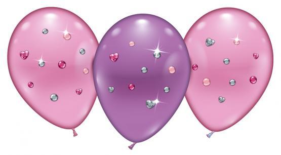 "4 Ballons/ Balloons "" Pink Jewels"""