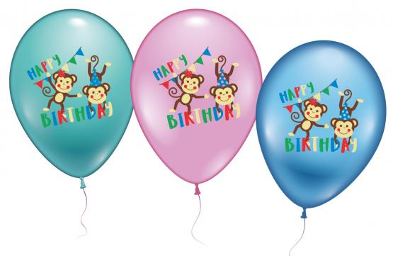 "6 Ballons / Balloons ""Monkey Birthday"""