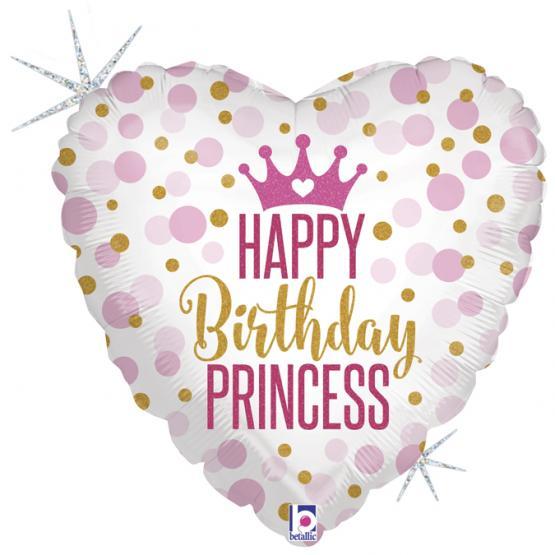1 Folienballons Glitter Birthday Princess