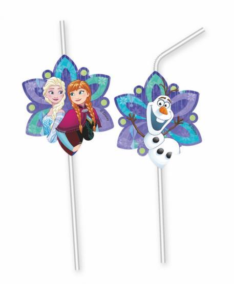 6 Trinkhalme Disney Frozen Snowflakes