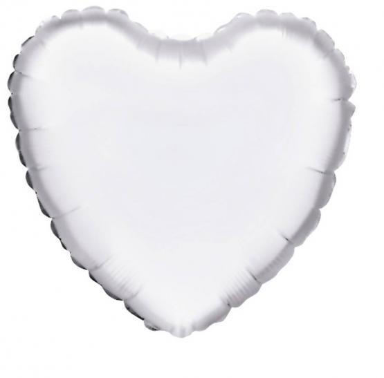 10 Folienballon Herz weiß