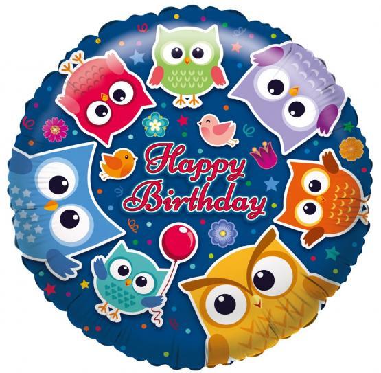 1 Folienballon Happy Birhday Eule