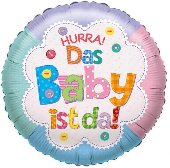 "1 Folienballon ""Hurra! Das Baby ist da"" (unisex)"