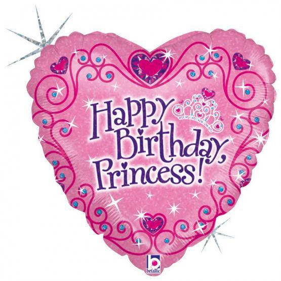 1 Folienballon Herz Birthday Princess