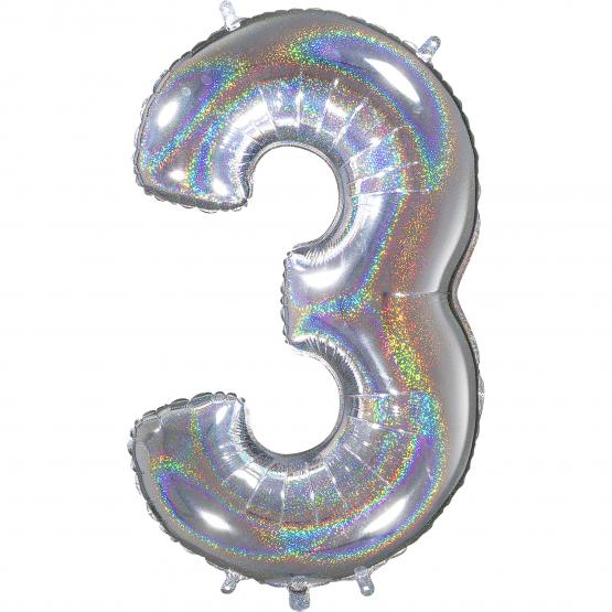 1 Foil Balloon Number 3 silver glitter holografisch