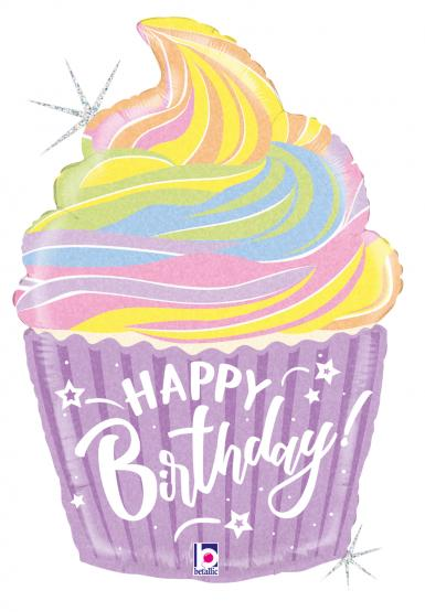 "1 Folienballon Pastell 68 cm/Pastel 27 """" Birthday Cake """