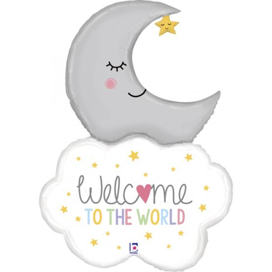 "5 Folienballons Welcome Baby Moon 42""/107 cm"