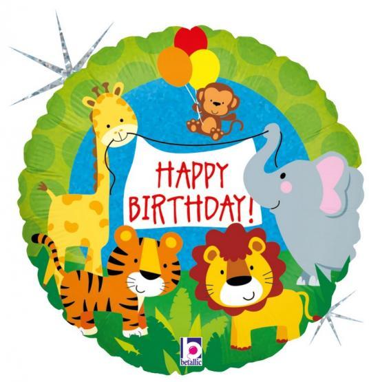 1 Foil Balloon Happy Birthday Jungle