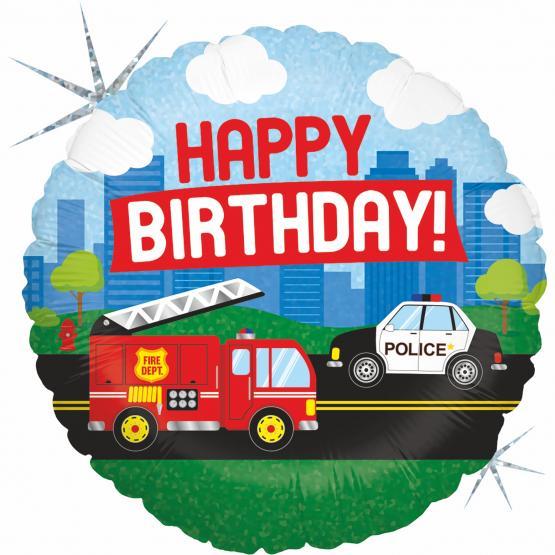 1 Foil Balloon Happy Birthday Emergency vehicle