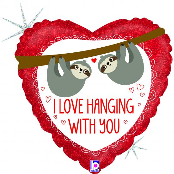 1 Foil Balloon Sloth Love hanging with you 46 cm/ 18 inch glitter