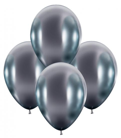 50 Balloons glossy silver