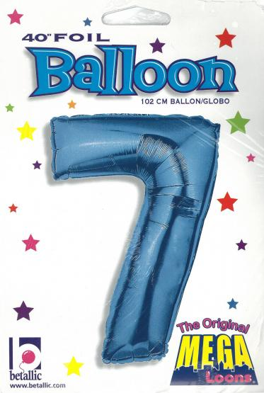 1 Foil Balloon Number 7 blue