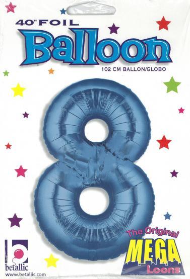1 Folienballon Zahl 8  blau