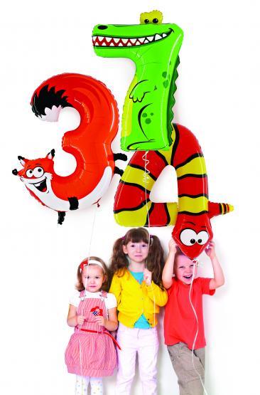 1 Folienballon Zahl 3 Fuchs