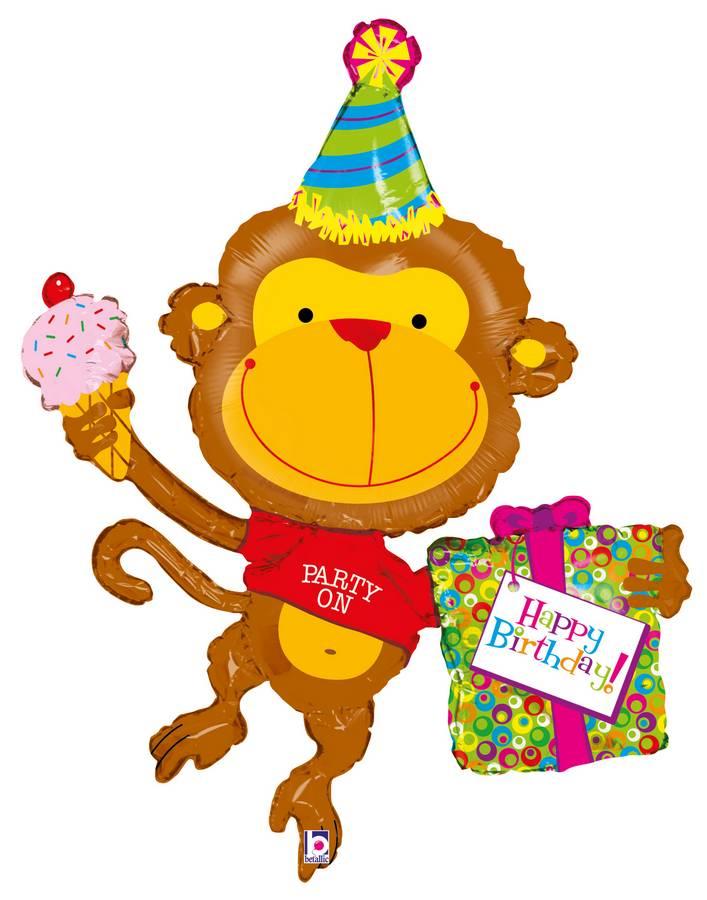 Открытка с днем рождения с обезьяной