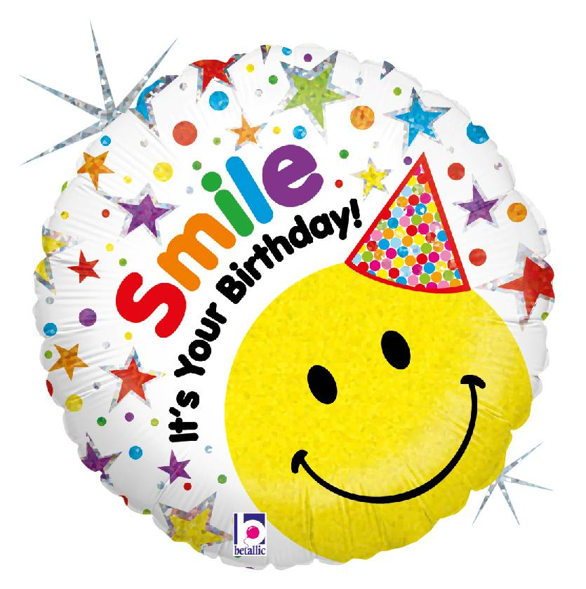 Karaloon Shop | 1 Foil Balloon Happy Birthday Smiley Hut