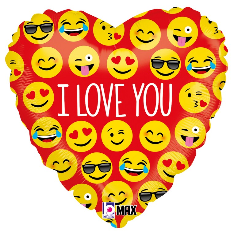 1 Foil Balloon Heart Emoji I Love