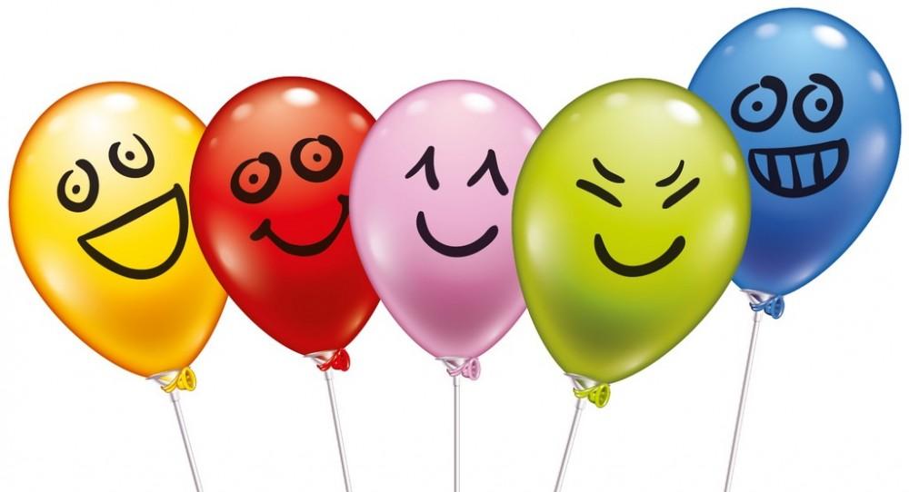5 Ballons Funny Faces mit Stäben