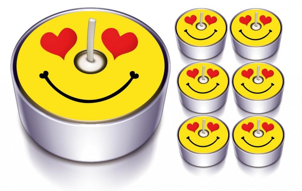 6 Designlichter Smile Heart
