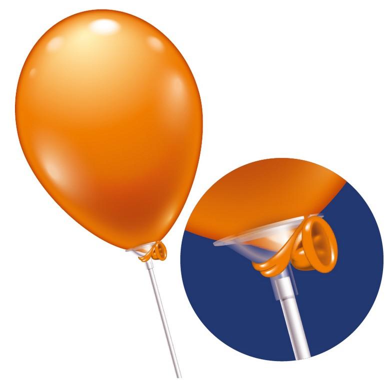 1 Folienballon 100 Plastikstäbe 1tlg. Weiß